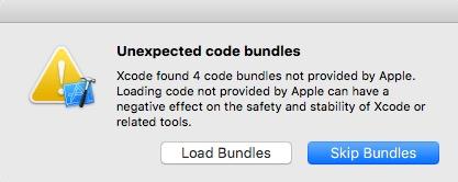 Xcode安装插件,错误选择了Skip Bundles,重新出现Load Bundles方法