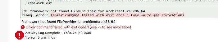 Xcode Framework not found FileProvider for architecture x86_64/arm64