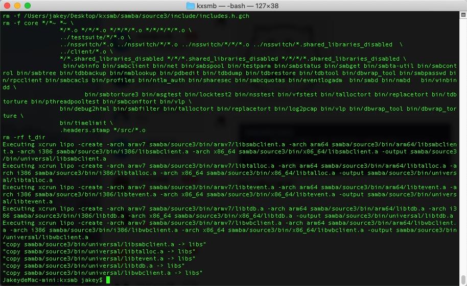 iOS开发之macOS下kxsmb编译smb类库
